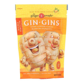 Ginger People - Gin Gins Hard Ginger Candy - Double Strength - Case Of 12 - 3 Oz. - BeeGreen