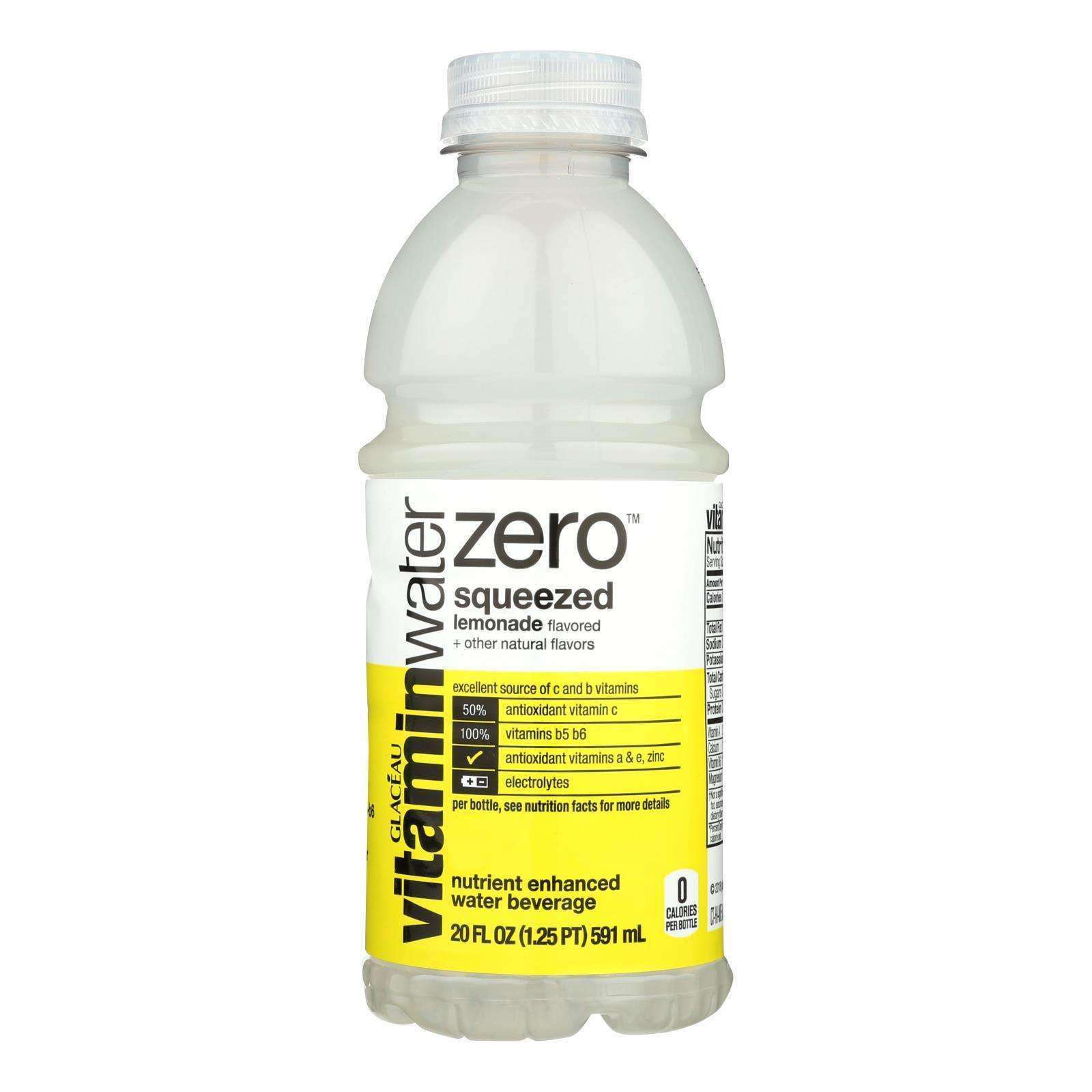 Glaceau Vitamin Water Zero, Squeeze Lemonade - Case Of 12 - 20 Fz - BeeGreen