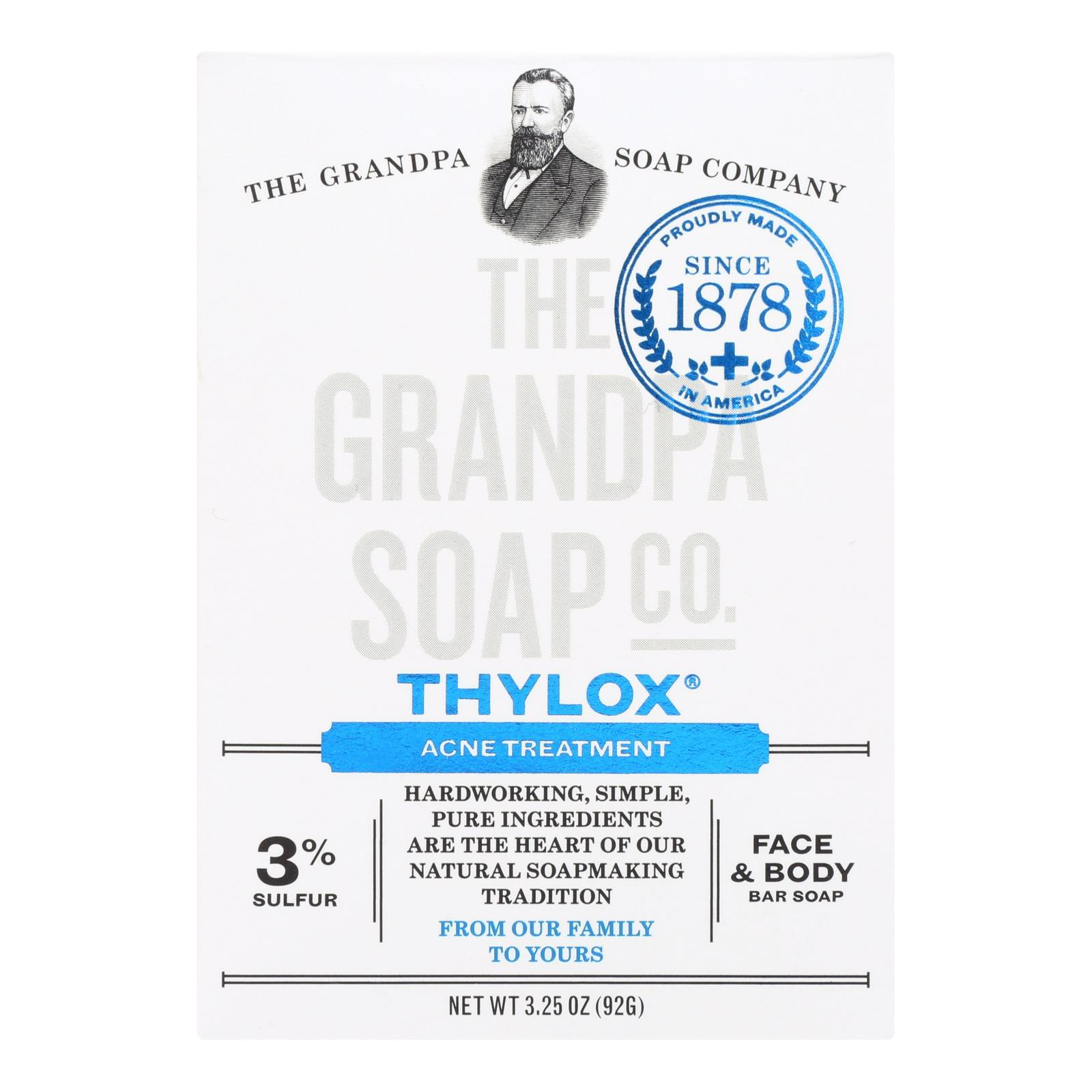Grandpa's Thylox Acne Treatment Bar Soap With Sulfur - 3.25 Oz - BeeGreen