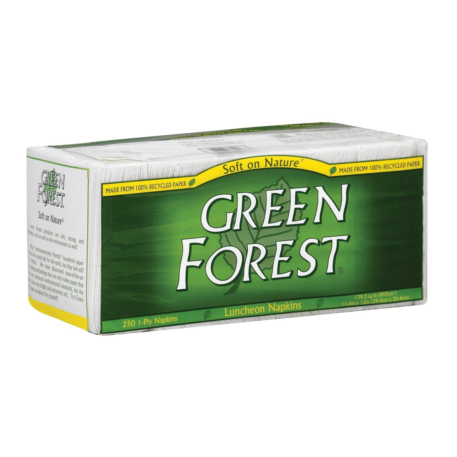 Green Forest Luncheon Napkins - White - Case Of 12 - 250 Count - BeeGreen
