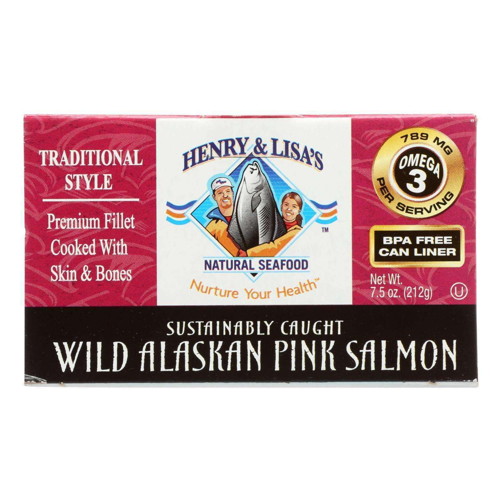 Henry And Lisa's Natural Seafood Wild Alaskan Pink Salmon - Case Of 12 - 7.5 Oz. - BeeGreen