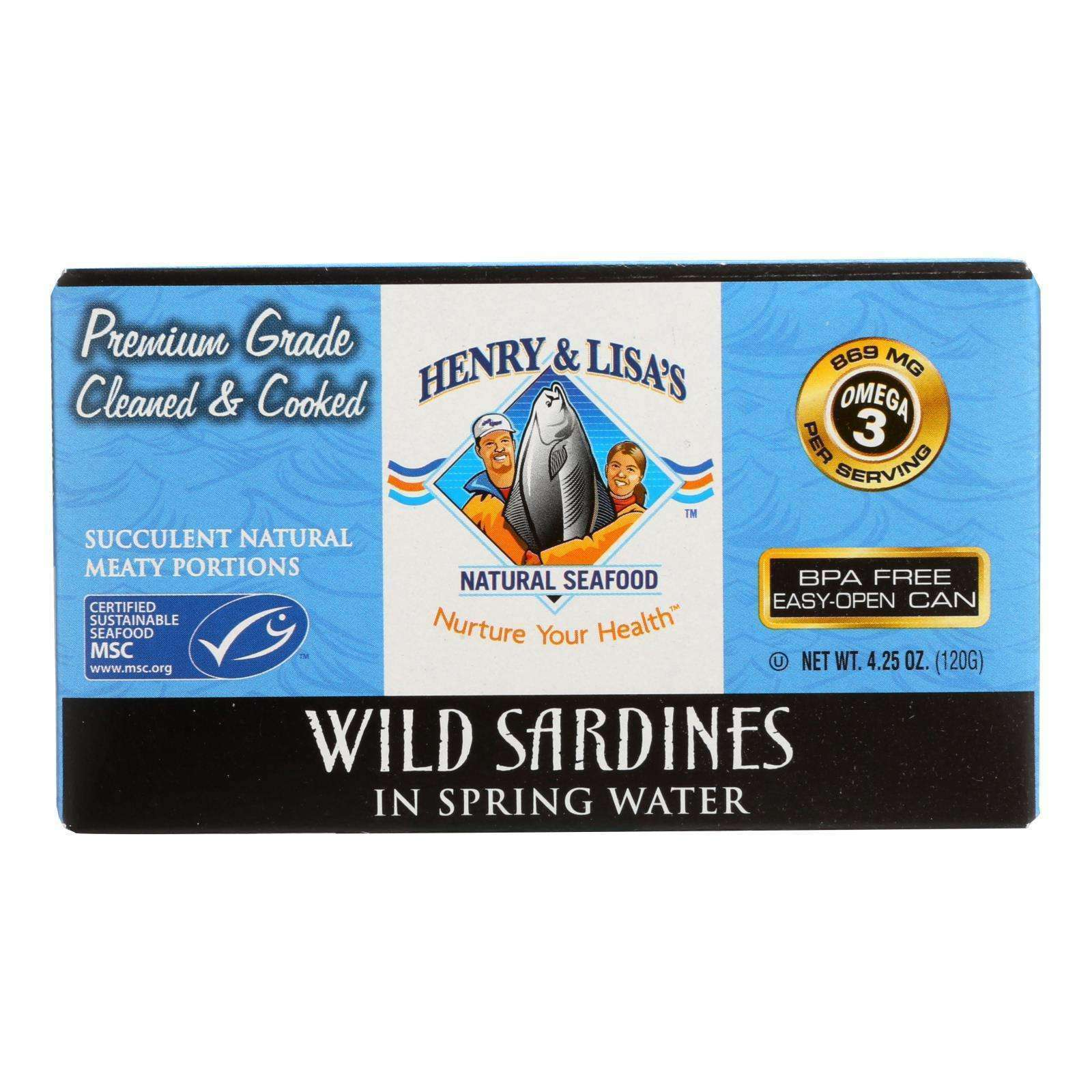 Henry And Lisa's Natural Seafood Wild Sardines In Spring Water - Case Of 12 - 4.25 Oz. - BeeGreen