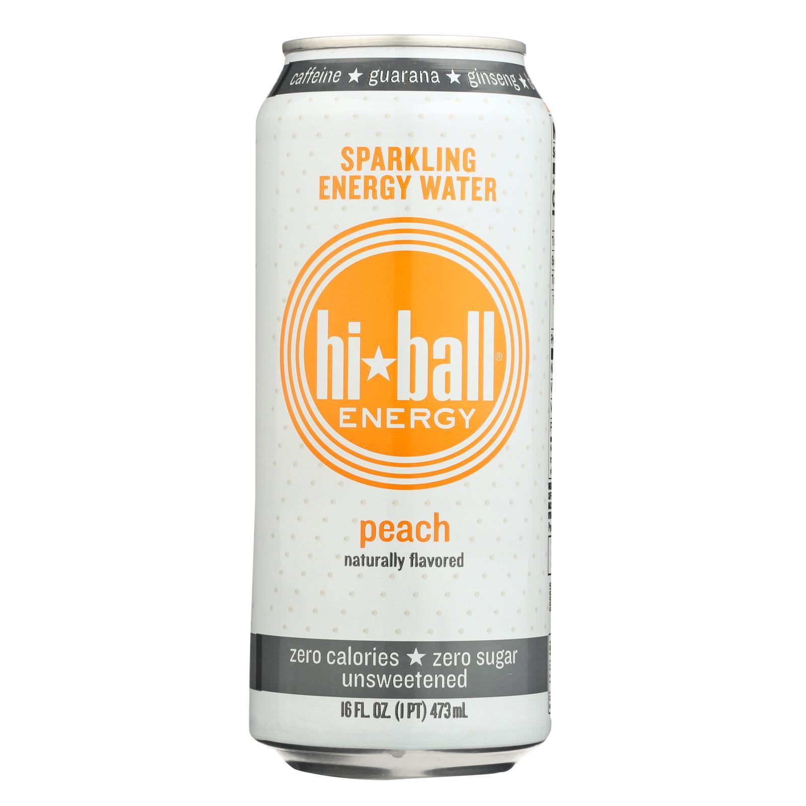 Hi Ball Sparkling Energy Water - Peach - Case Of 1 - 8-16 Fl Oz. - BeeGreen