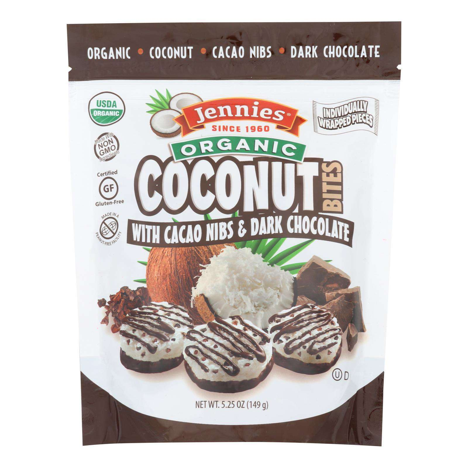 Jennies Coconut Bites - Organic - Cacao Chocolate - Case Of 6 - 5.25 Oz - BeeGreen