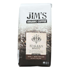 Jim's Organic Coffee - Whole Bean - Italian Roast - Case Of 6 - 11 Oz. - BeeGreen