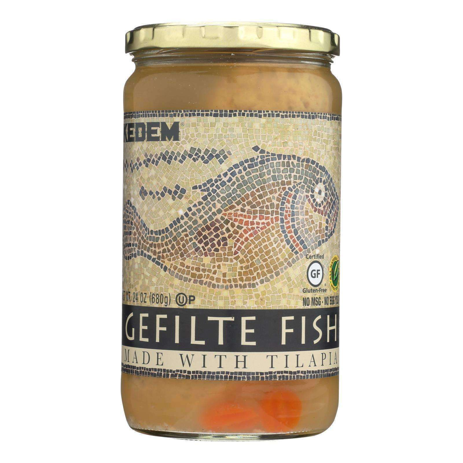 Kedem Gefilte Fish - Tilapia - Case Of 12 - 24 Oz. - BeeGreen