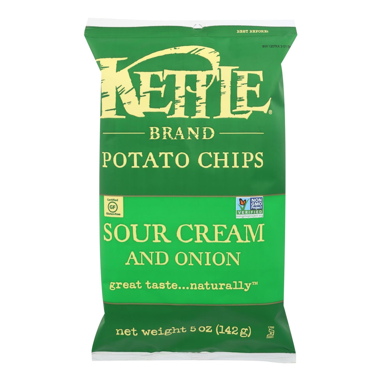 Kettle Brand Potato Chips - Sour Cream And Onion - Case Of 15 - 5 Oz. - BeeGreen