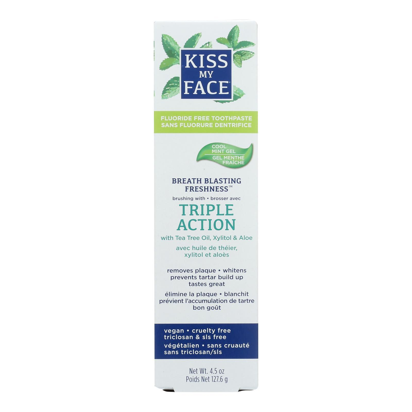Kiss My Face Toothpaste - Triple Action - Fluoride Free - Gel - 4.5 Oz - BeeGreen