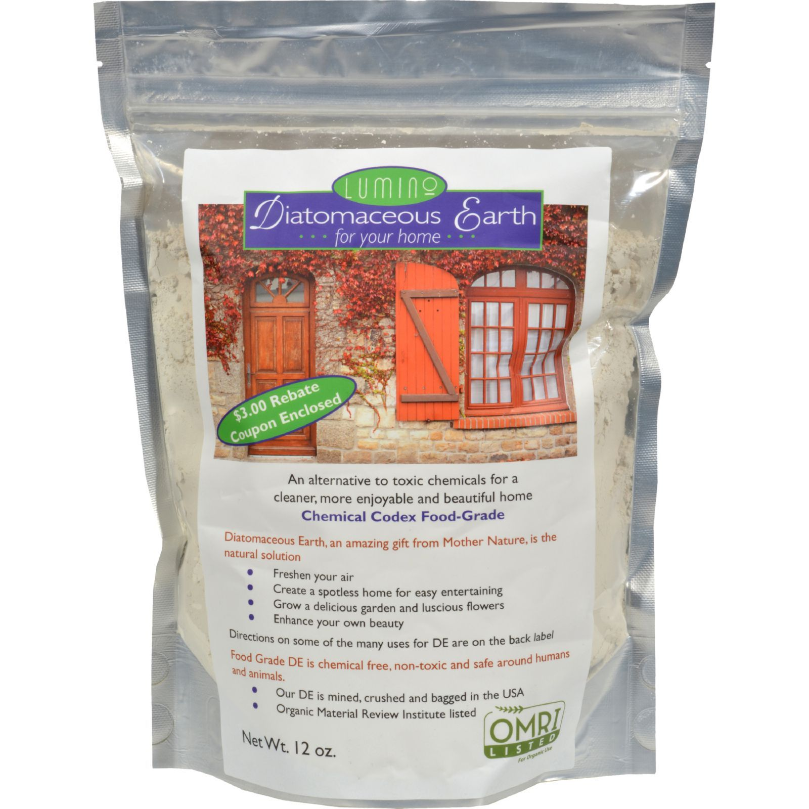 Lumino Diatomaceous Earth For Your Home - 12 Oz - BeeGreen