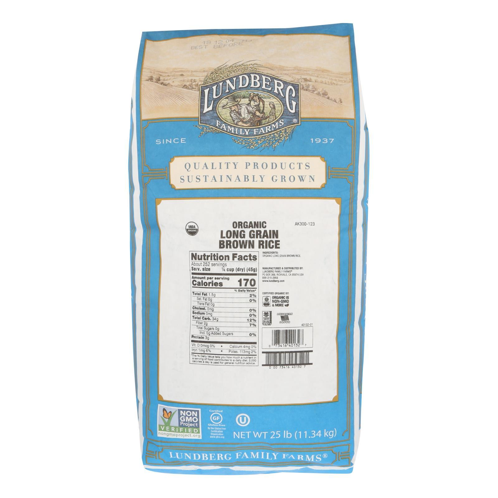 Lundberg Family Farms Organic Long Grain Brown Rice - Case Of 25 Lbs - BeeGreen