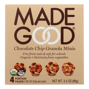 Made Good Granola Minis - Chocolate Chip - Case Of 6 - 3.4 Oz. - BeeGreen