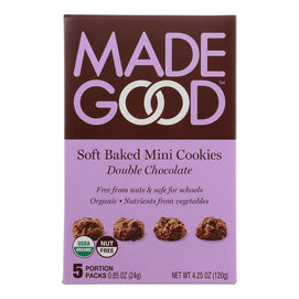 Made Good Soft Baked Mini Cookies - Double Chocolate - Case Of 6 - 4.25 Oz. - BeeGreen