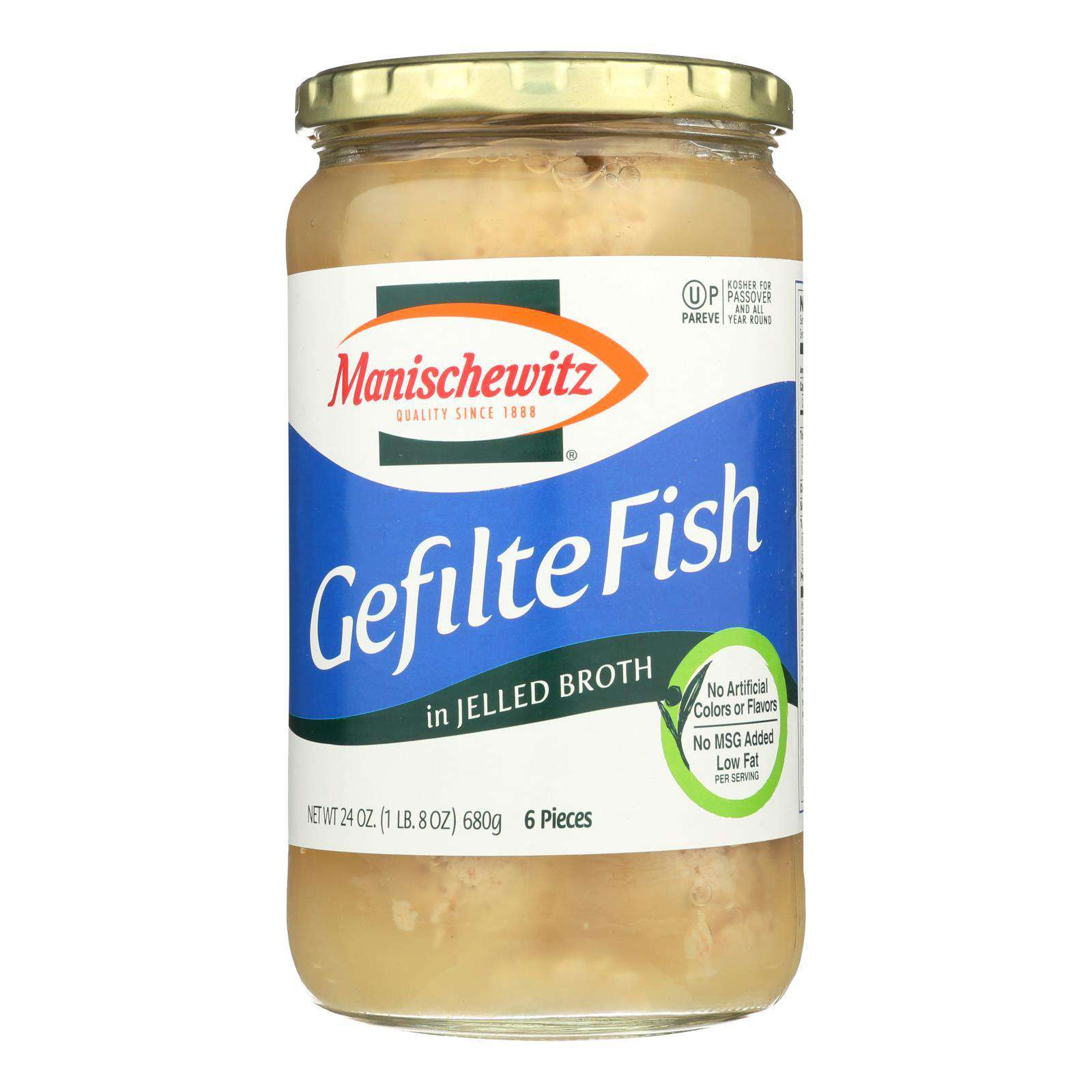 Manischewitz - Gefilte Fish In Jelled Broth - Original - Case Of 12 - 24 Oz. - BeeGreen