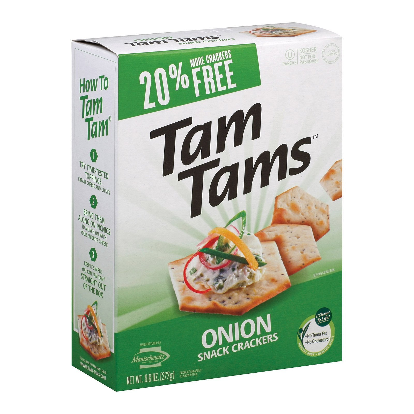 Manischewitz - Tam Tams Snack Crackers - Onion - Case Of 12 - 9.6 Oz. - BeeGreen