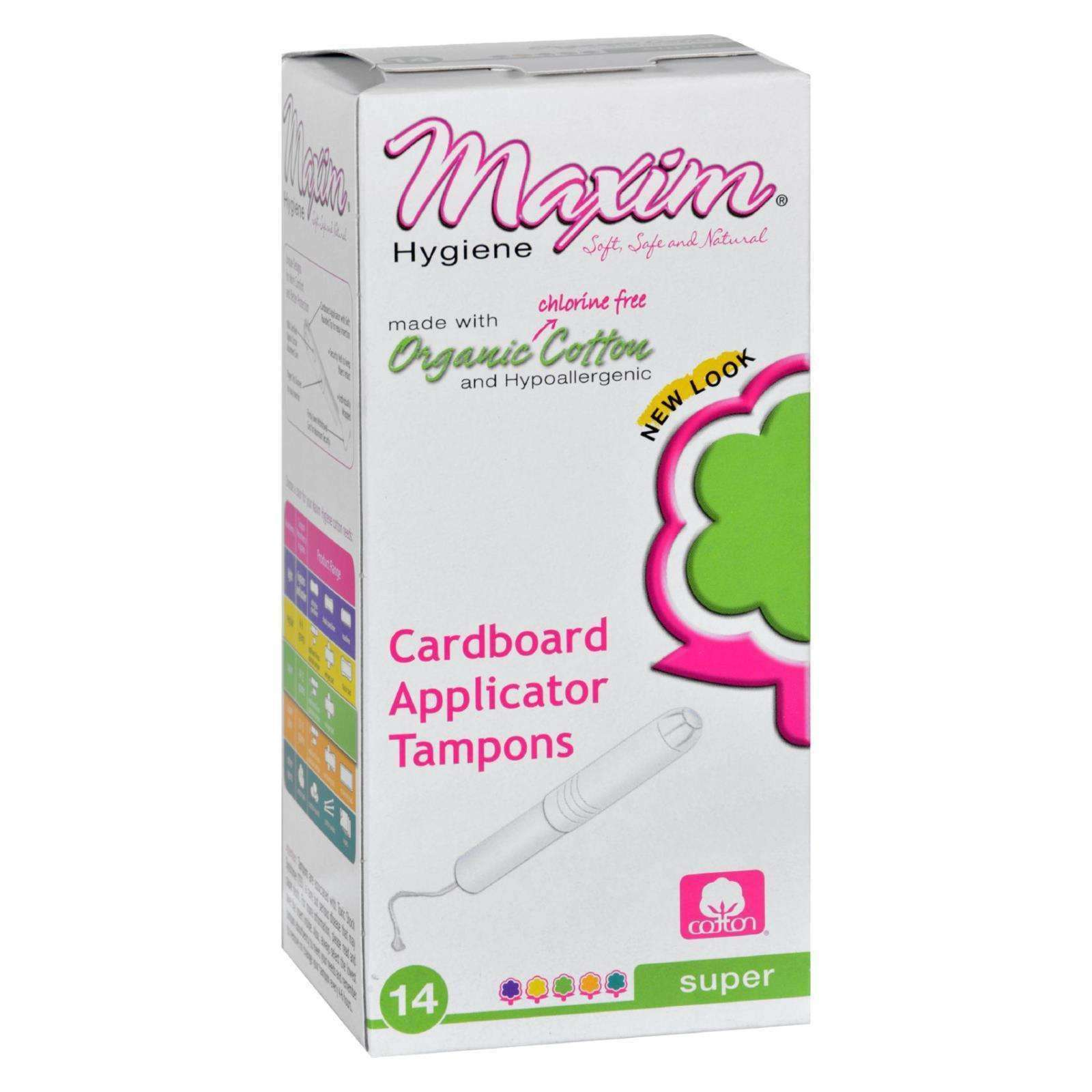 Maxim Hygiene Products Tampons - Organic Cotton - Cardboard Applicator - Super - 14 Count - BeeGreen