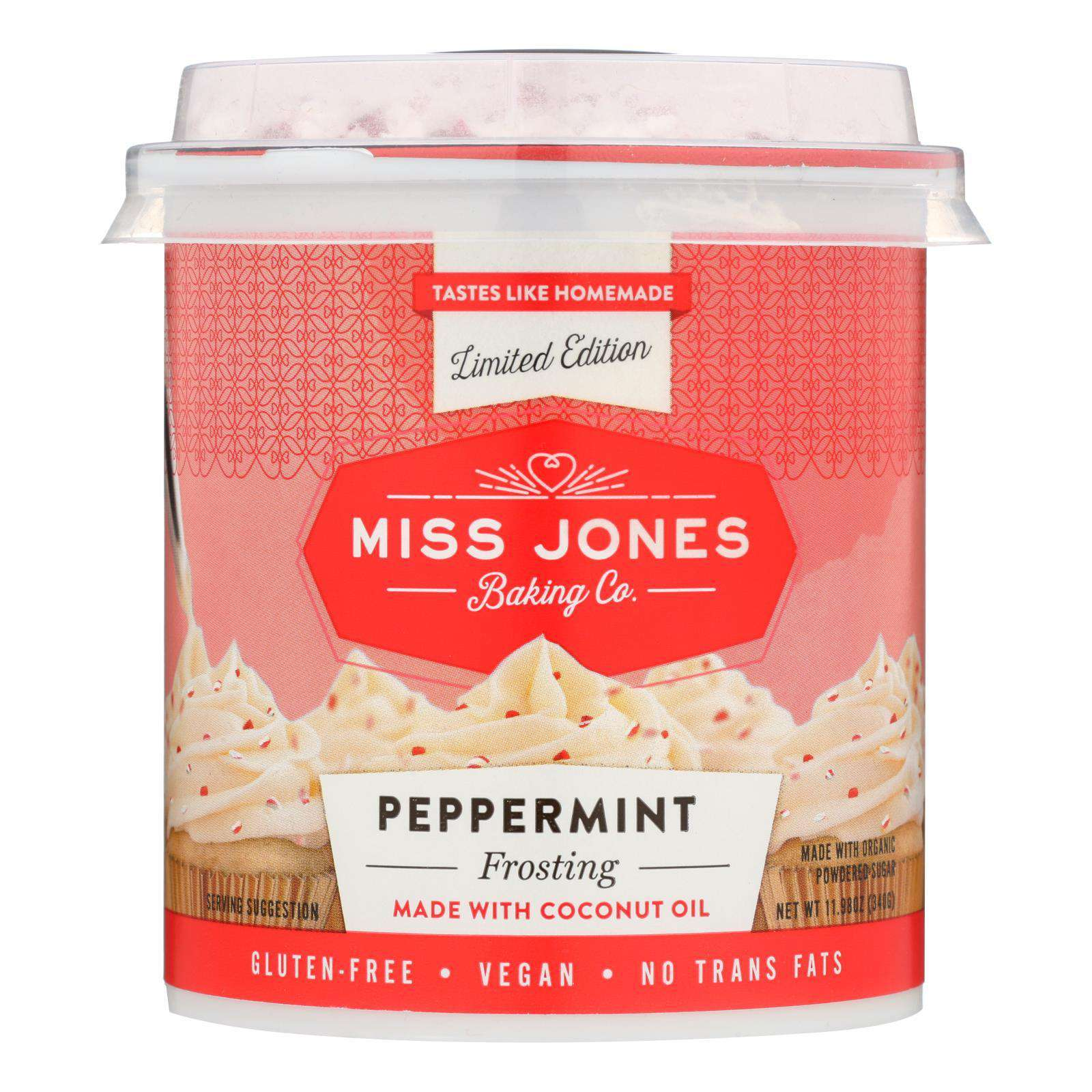 Miss Jones Baking Co - Frosting Peppermint - Case Of 6 - 11.98 Oz - BeeGreen