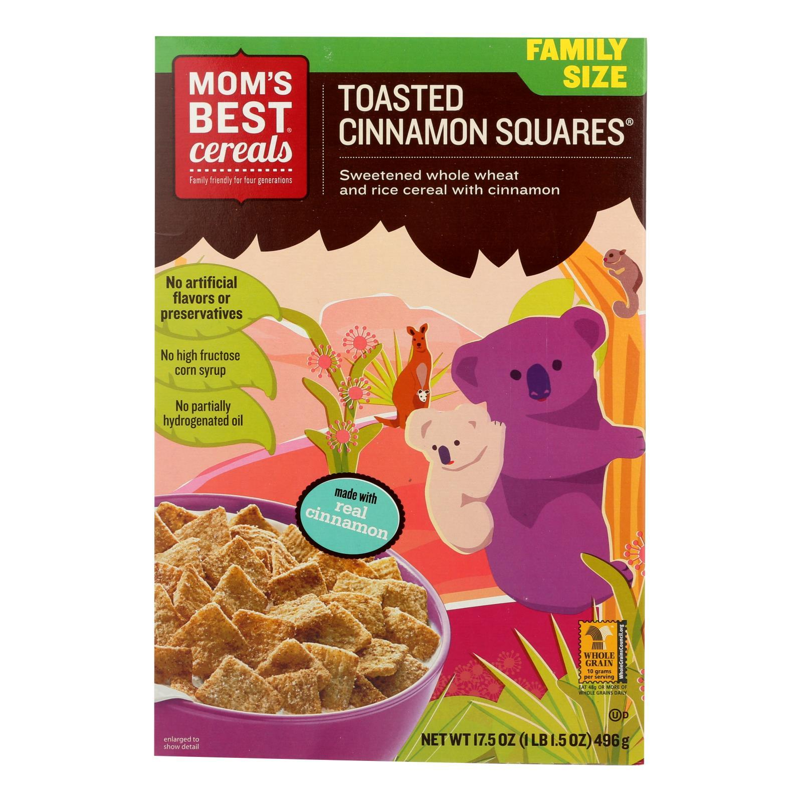 Mom's Best Naturals Toasted Cinnamon Squares - Case Of 14 - 17.5 Oz. - BeeGreen
