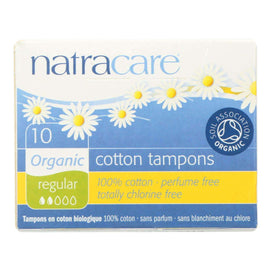 Natracare 100% Organic Cotton Tampons - Regular - 10 Pack - BeeGreen