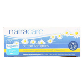 Natracare 100% Organic Cotton Tampons Super - 20 Tampons - BeeGreen