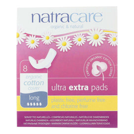 Natracare Ultra Extra Pads W-wings - Long - 8 Count - BeeGreen