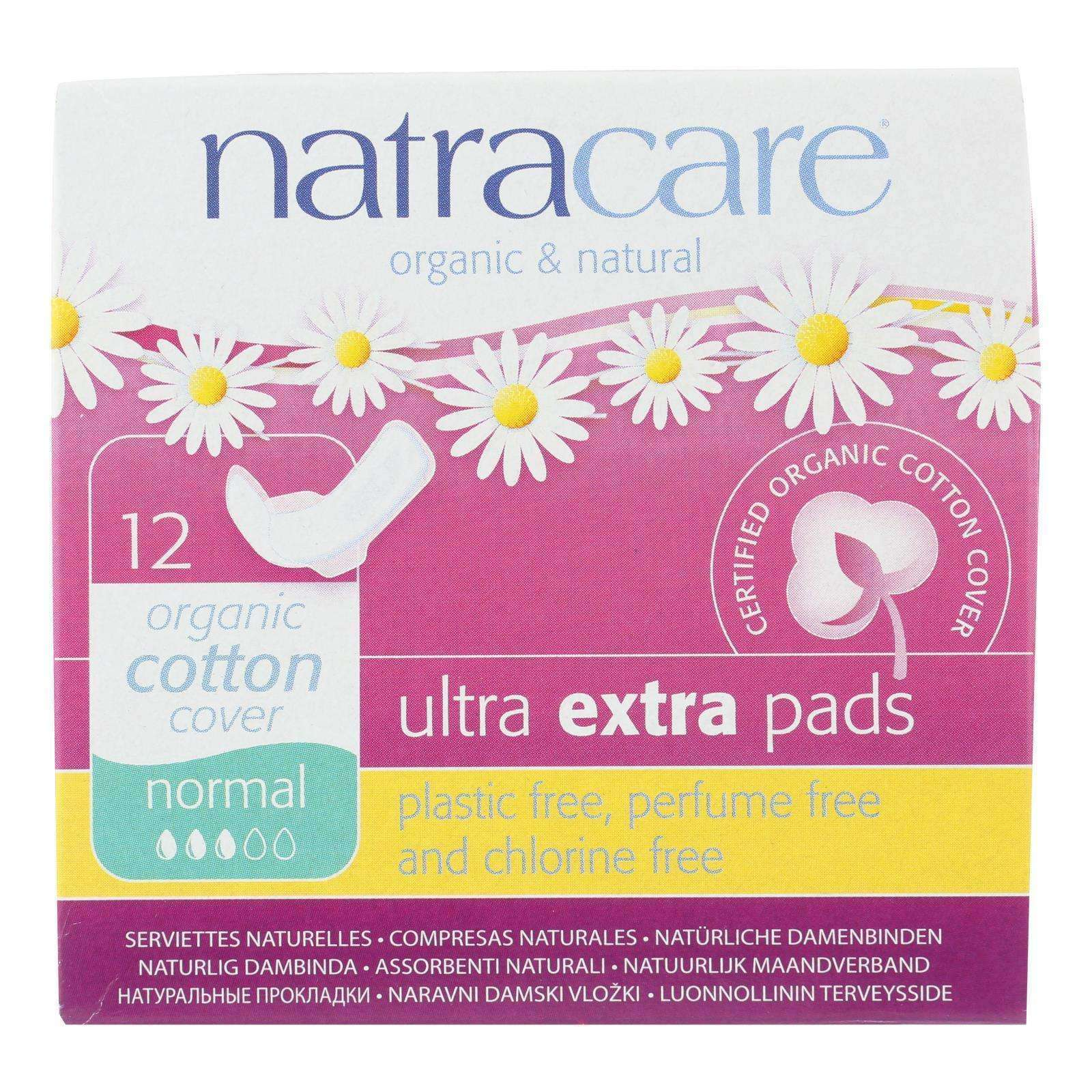 Natracare Ultra Extra Pads W-wings - Normal - 12 Count - BeeGreen