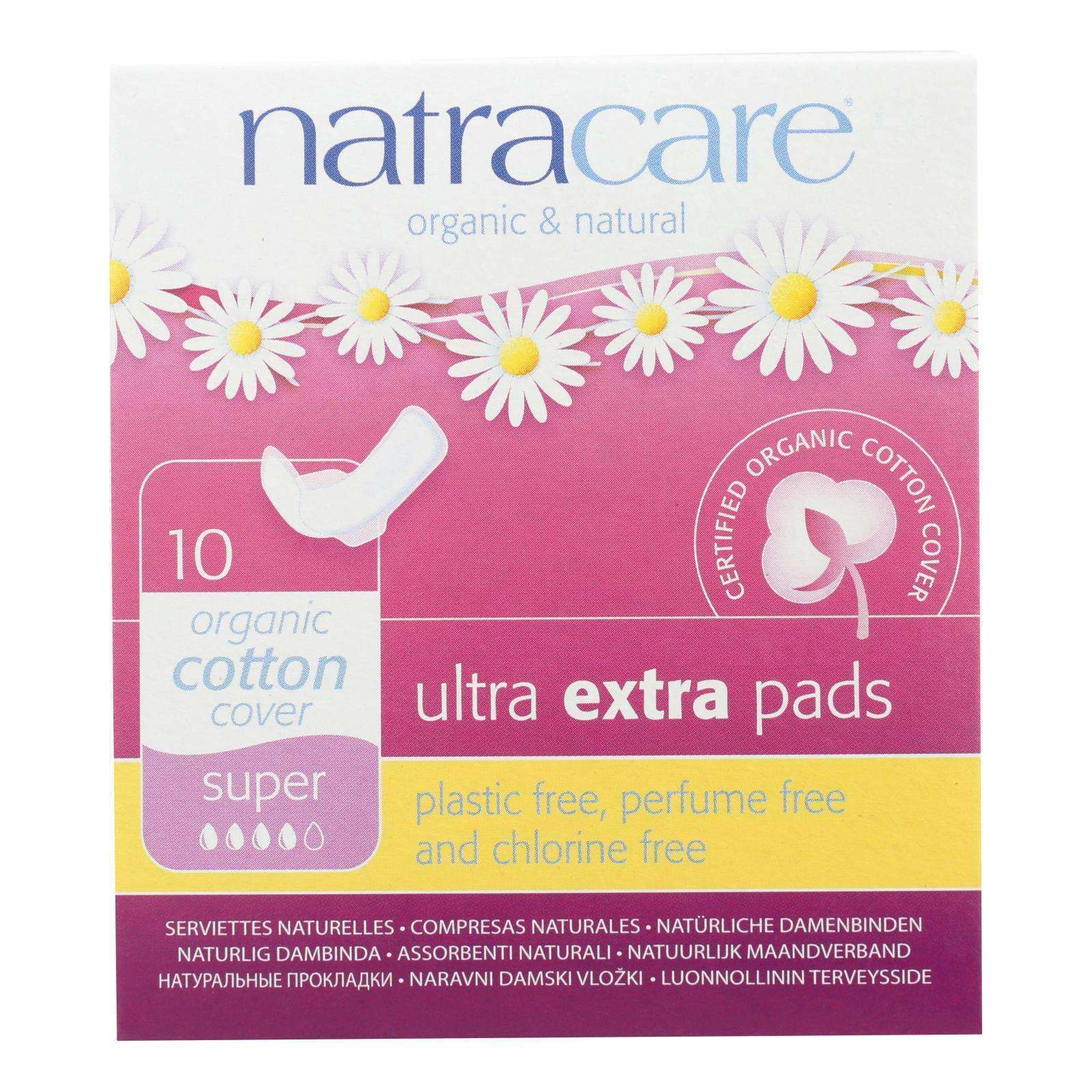 Natracare Ultra Extra Pads W-wings - Super - 10 Count - BeeGreen