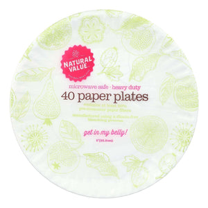 Natural Value - Paper Plates Recyc - Case Of 24 - 40 Ct - BeeGreen