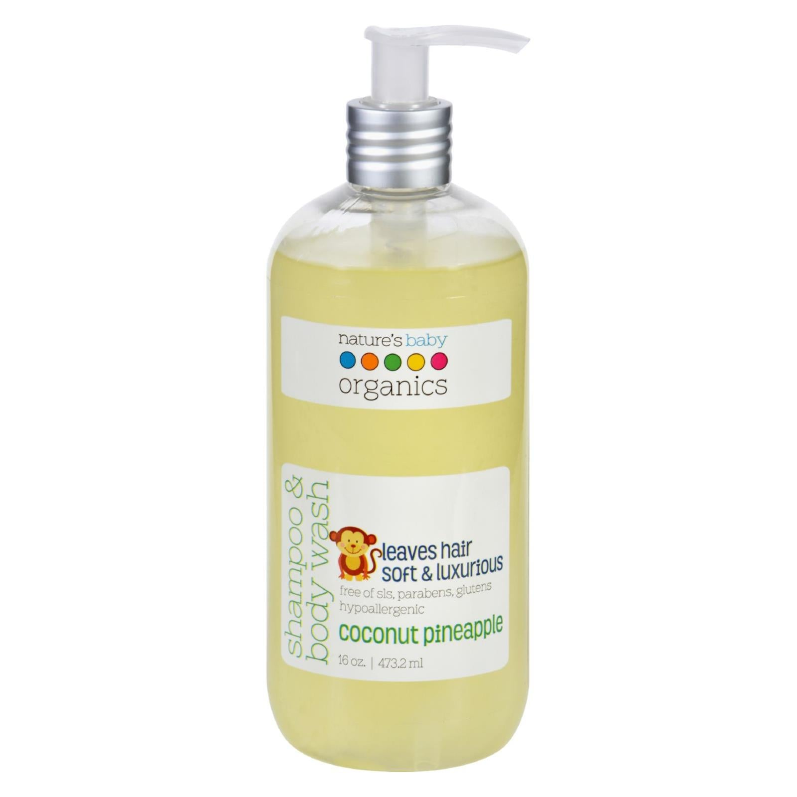 Nature's Baby Organics Shampoo And Body Wash - Coconut Pienapple - 16 Oz - BeeGreen