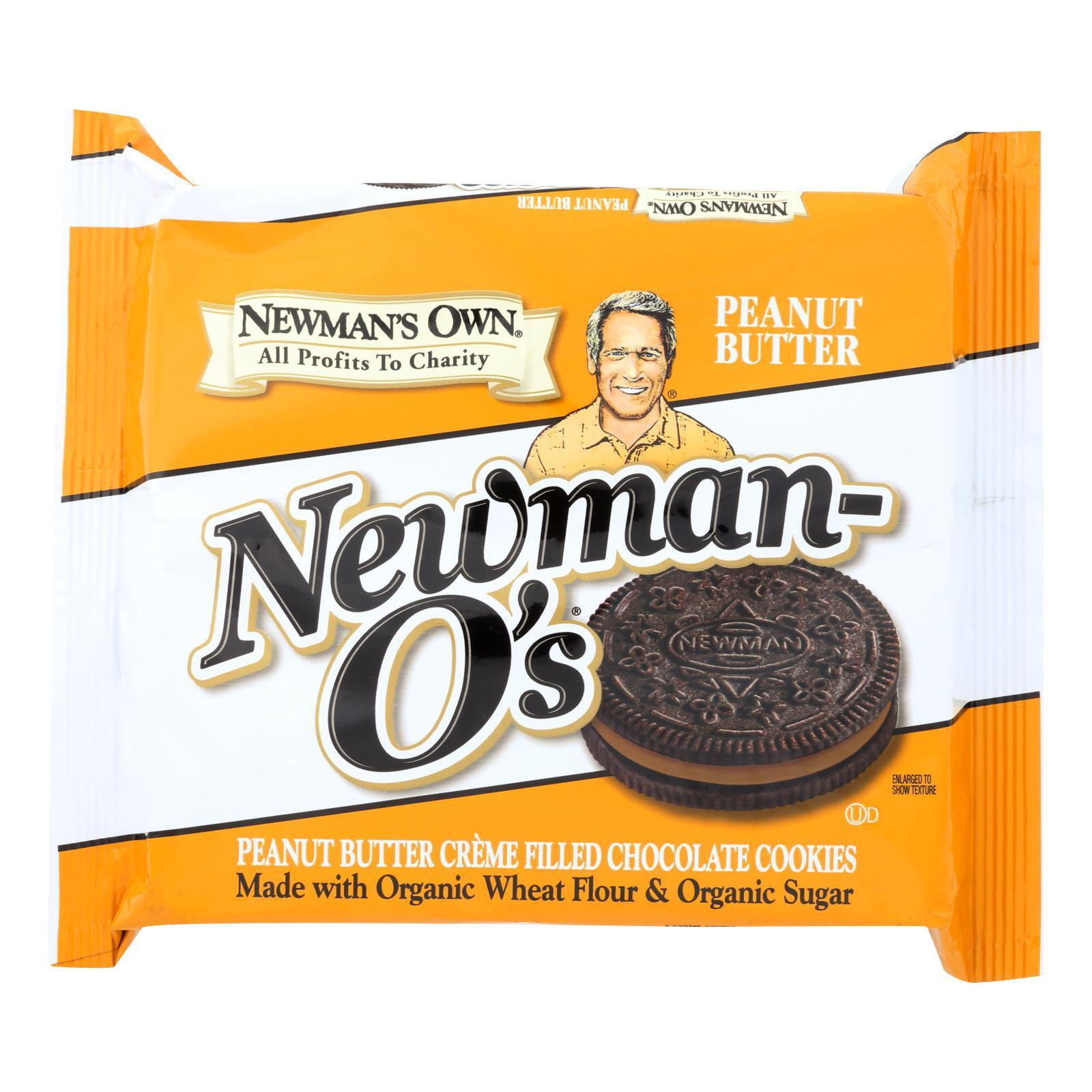 Newman's Own Organics Creme Filled Chocolate Cookies - Peanut Butter - Case Of 6 - 13 Oz. - BeeGreen