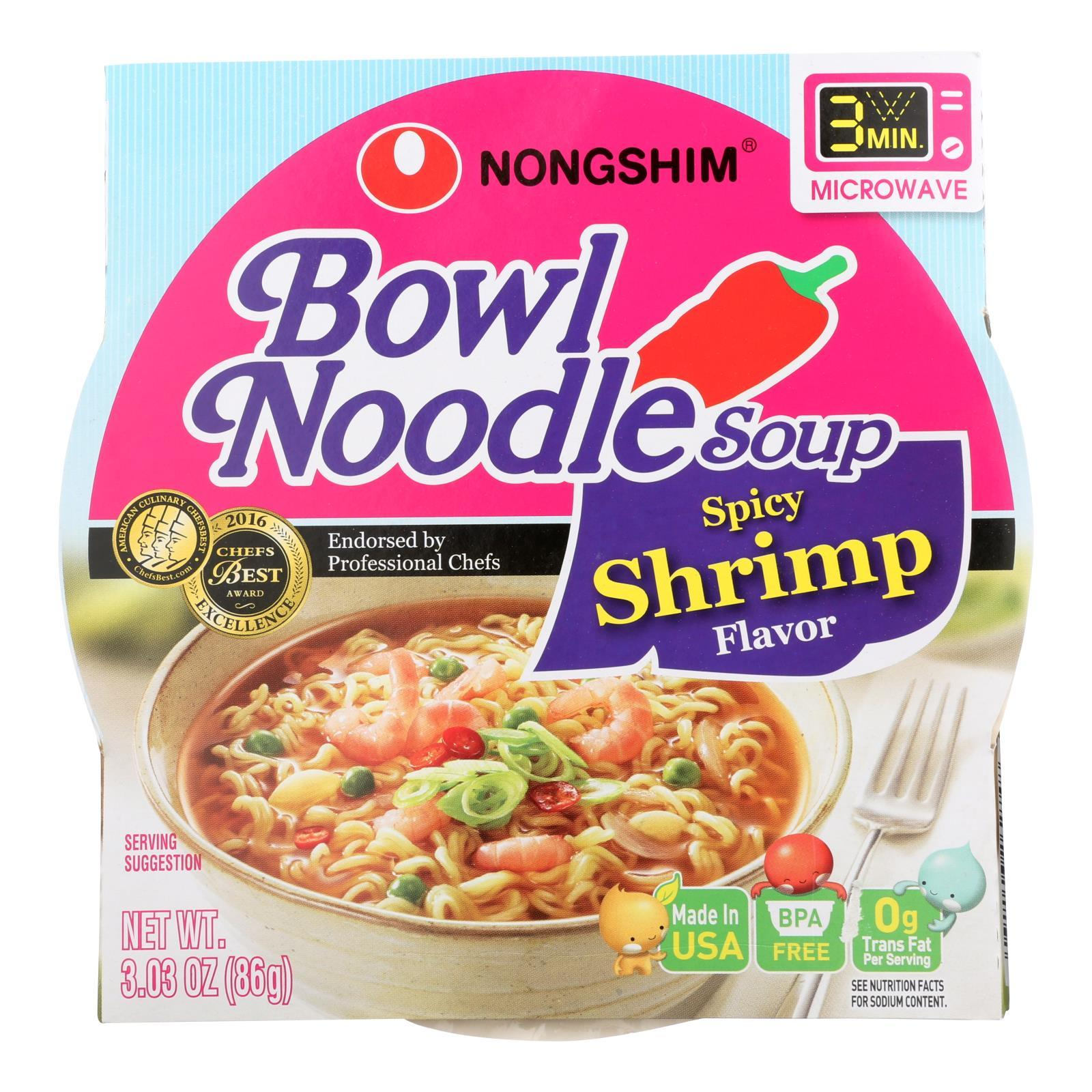 Nong Shim Spicy Shrimp Bowl - Noodle Soup - Case Of 12 - 3.03 Oz. - BeeGreen