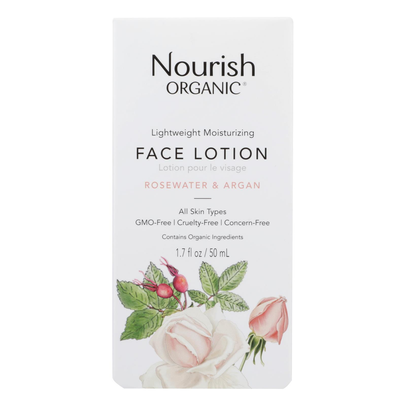 Nourish Facial Lotion - Organic - Lightweight Moisturizing - Argan And Rosewater - 1.7 Oz - 1 Each - BeeGreen