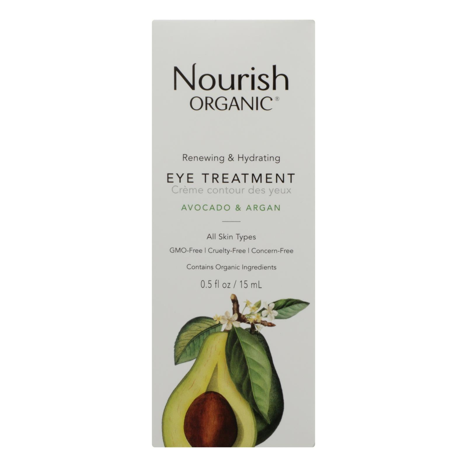 Nourish Organic Eye Treatment Cream - Renewing And Cooling - Avocado And Argan Oil - .5 Oz - BeeGreen