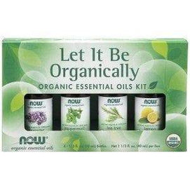Now Foods, Let It Be Organically, Organic Essential Oils Kit, 4 Bottles, 1/3 fl oz (10 ml) Each - BeeGreen