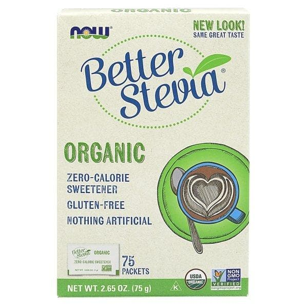 Now Foods, Organic Better Stevia, Zero-Calorie Sweetener, 75 Packets, 2.65 oz (75 g) - BeeGreen
