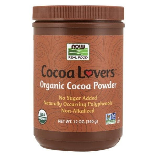 Now Foods, Real Food, Cocoa Lovers, Organic Cocoa Powder, 12 oz (340 g) - BeeGreen
