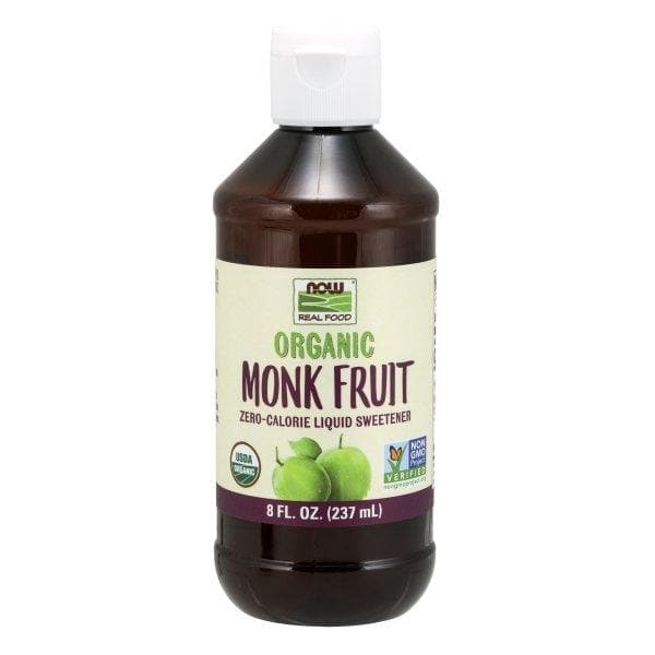 Now Foods, Real Food, Organic Monk Fruit, Zero-Calorie Liquid Sweetener, 8 fl oz (237 ml) - BeeGreen
