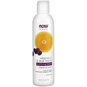 Now Foods, Solutions, Purifying Toner, Vitamin C & Acai Berry, 8 fl oz (237 ml) - BeeGreen