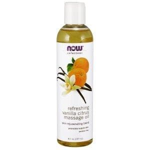 Now Foods, Solutions, Refreshing Vanilla Citrus Massage Oil, 8 fl oz (237 ml) - BeeGreen