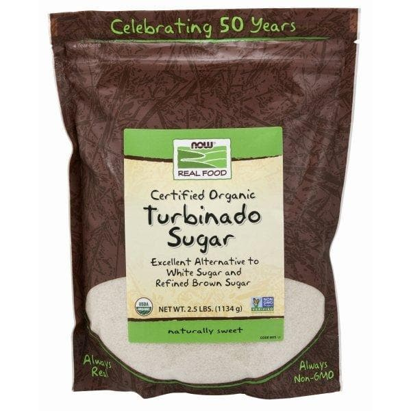 Now Foods, Turbinado Sugar, Organic - 2.5 Lbs. - BeeGreen