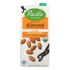 Pacific Natural Foods Almond Vanilla - Unsweetened - Case Of 12 - 32 Fl Oz. - BeeGreen