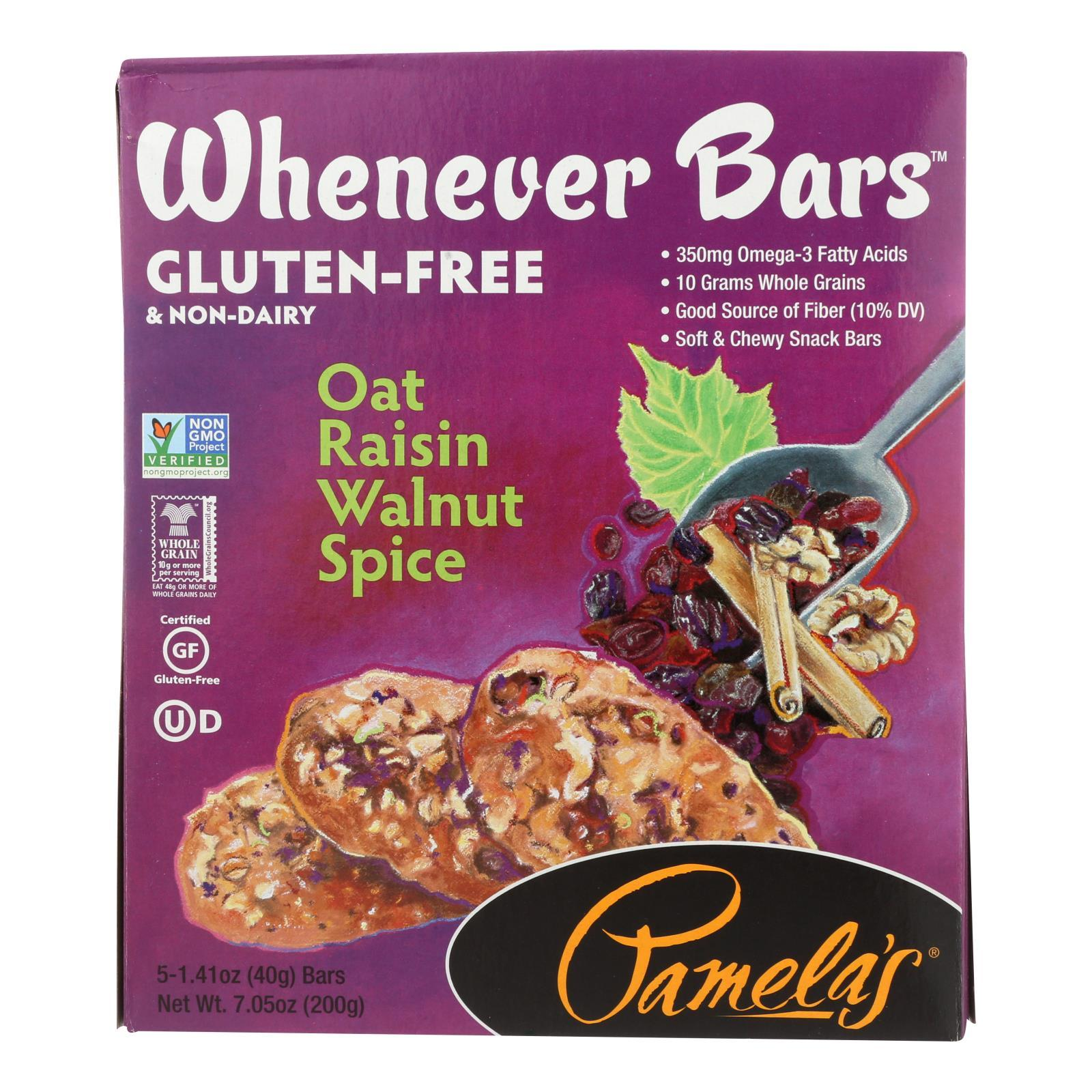 Pamela's Products - Oat Spice Whenever Bars - Raisin Walnut - Case Of 6 - 1.41 Oz. - BeeGreen