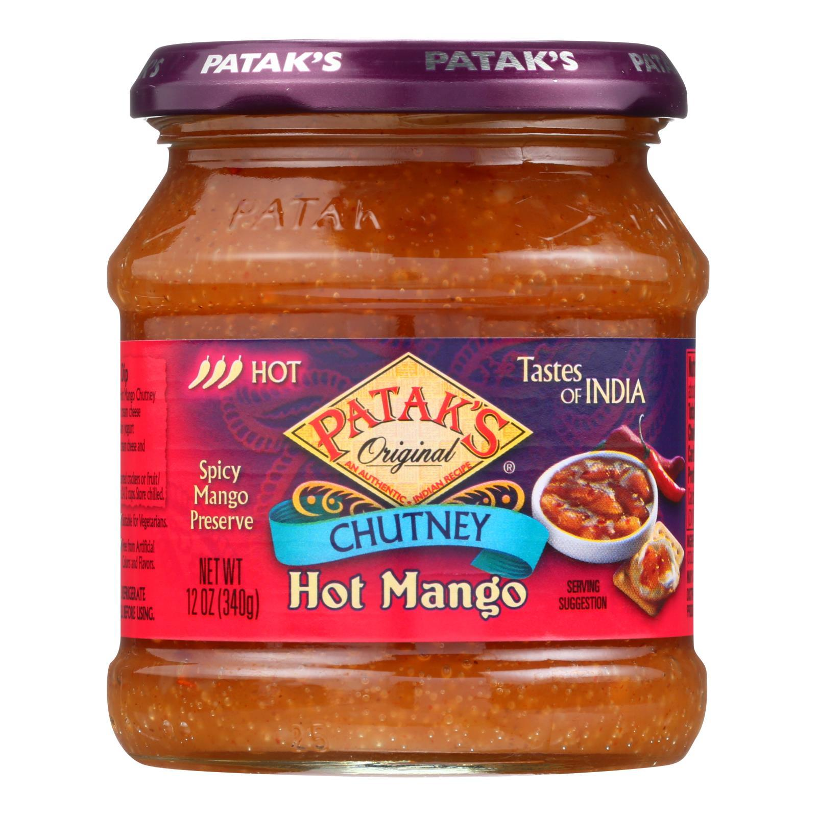 Pataks Chutney - Hot Mango - Hot - 12 Oz - Case Of 6 - BeeGreen
