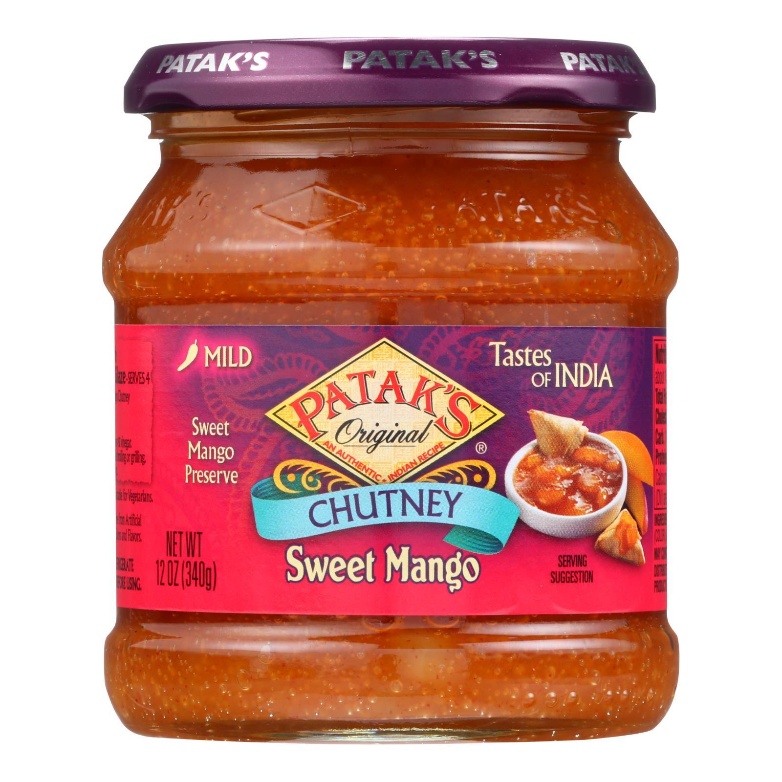 Pataks Chutney - Sweet Mango - Mild - 12 Oz - Case Of 6 - BeeGreen