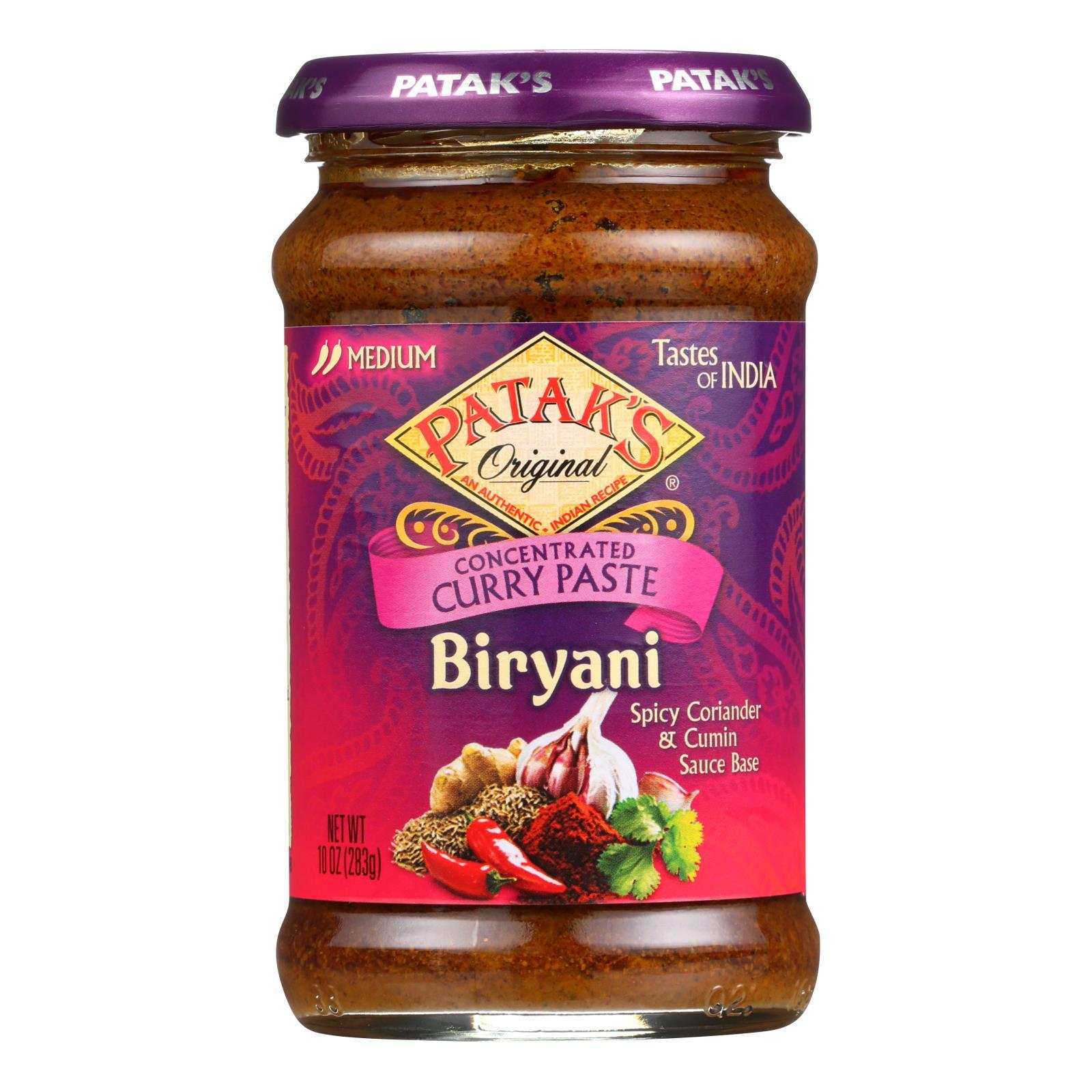 Pataks Curry Paste - Concentrated - Biryani - Medium - 10 Oz - Case Of 6 - BeeGreen
