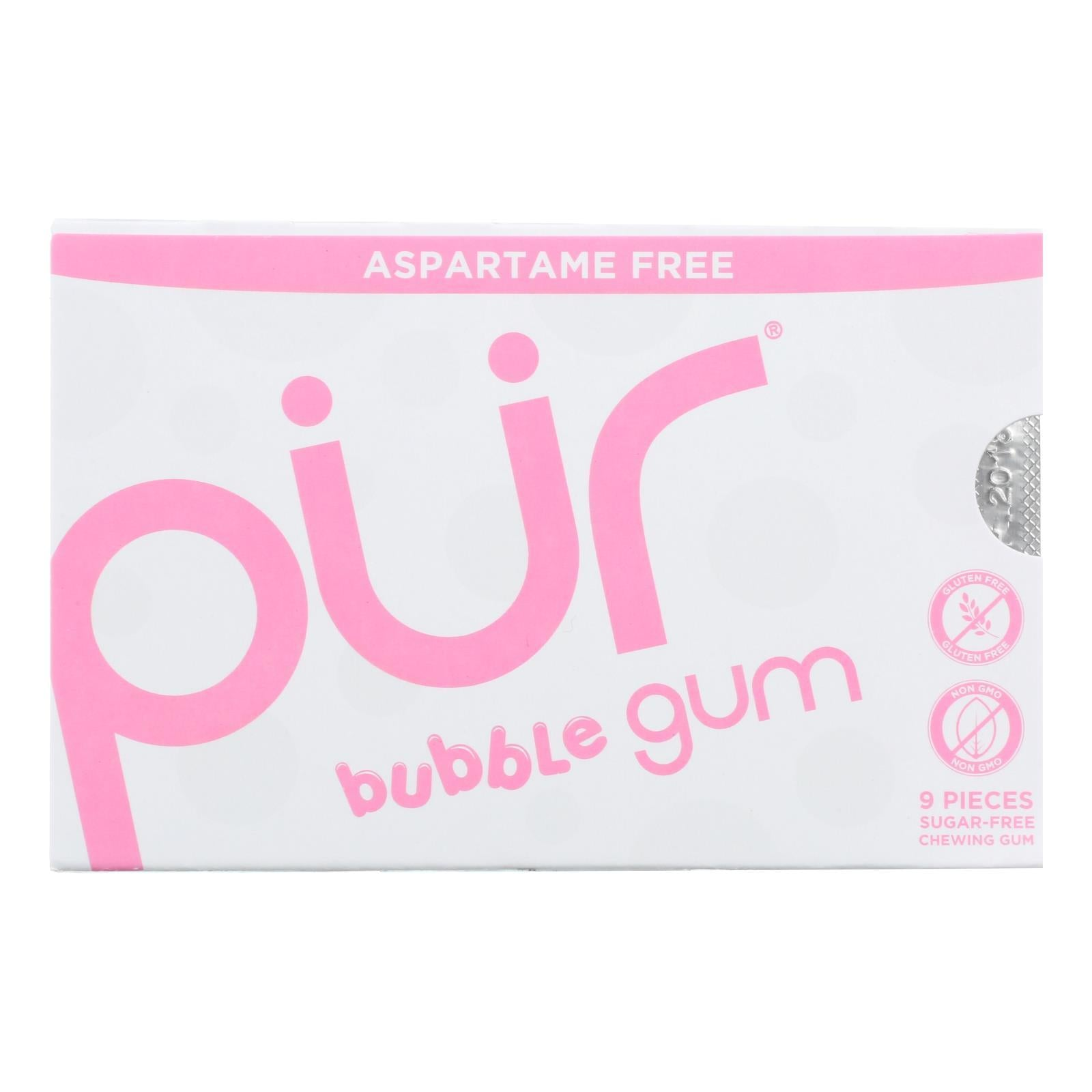 Pur Gum Bubble Gum - Sugar Free - Case Of 12 - 9 Count - BeeGreen