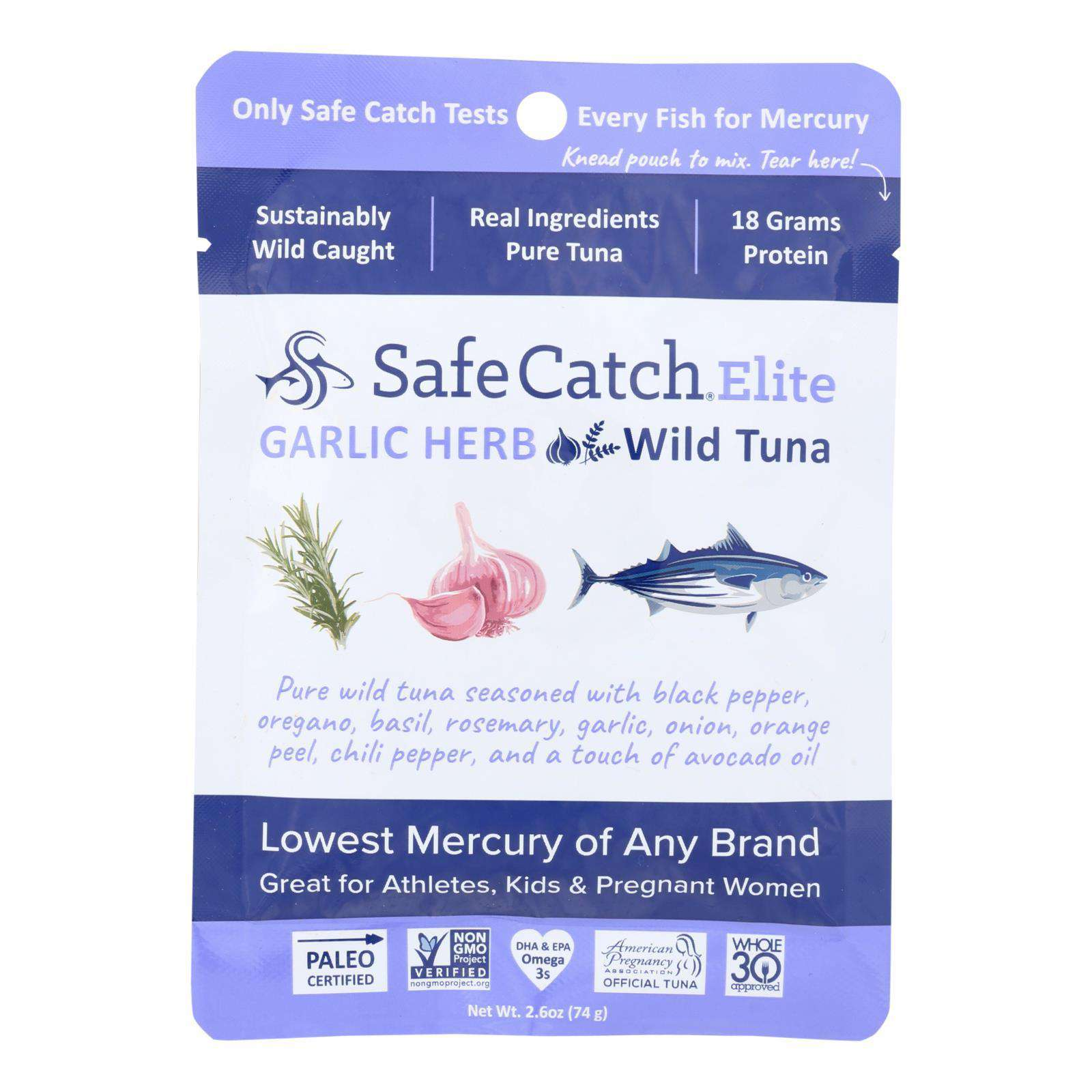 Safe Catch - Tuna Garlic Herb Pouch - Case Of 12 - 2.6 Oz - BeeGreen