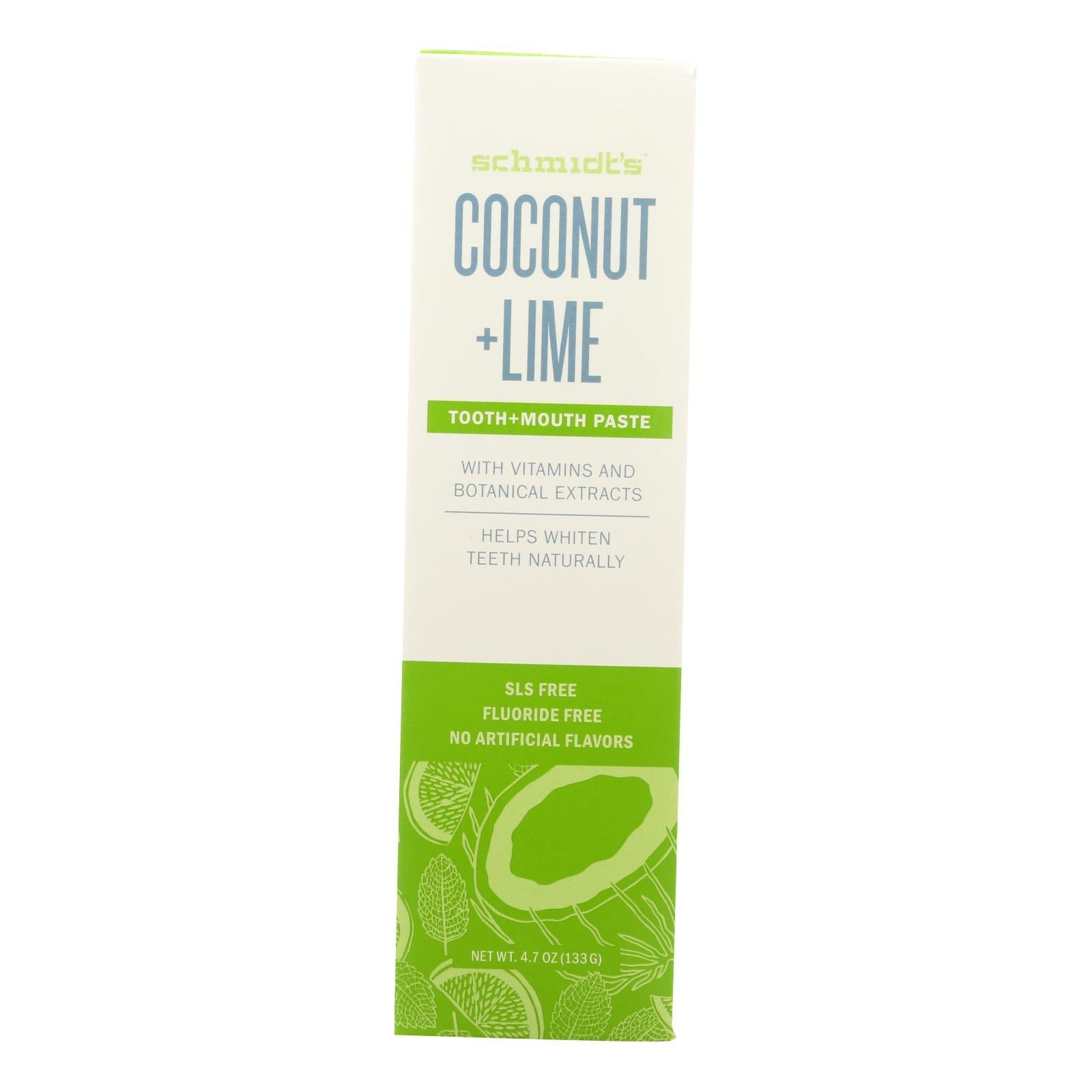Schmidt's - Toothpaste Coconut And Lime - 4.7 Oz. - BeeGreen
