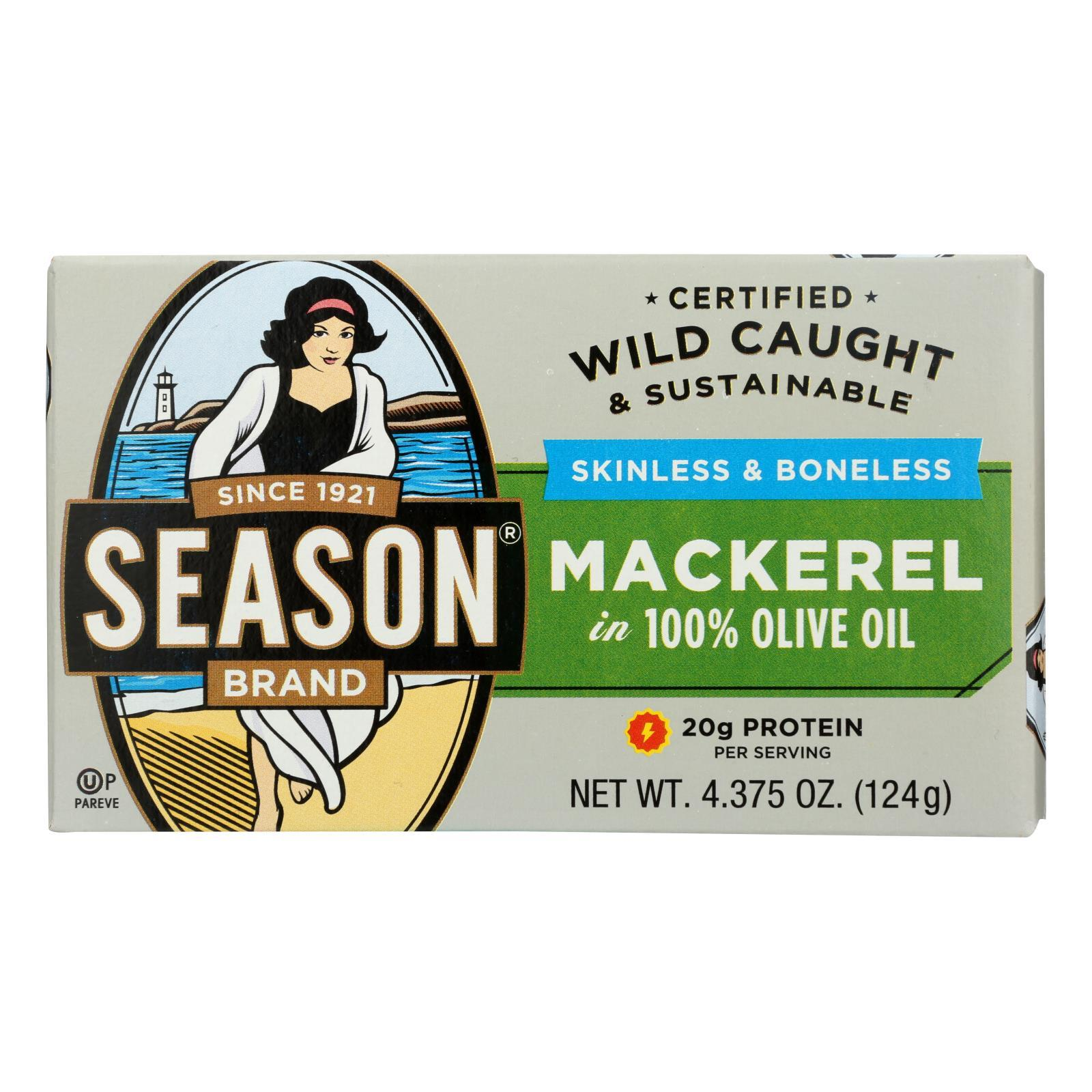 Season Brand Mackerels - Fillets - In Olive Oil - 4.375 Oz - Case Of 12 - BeeGreen