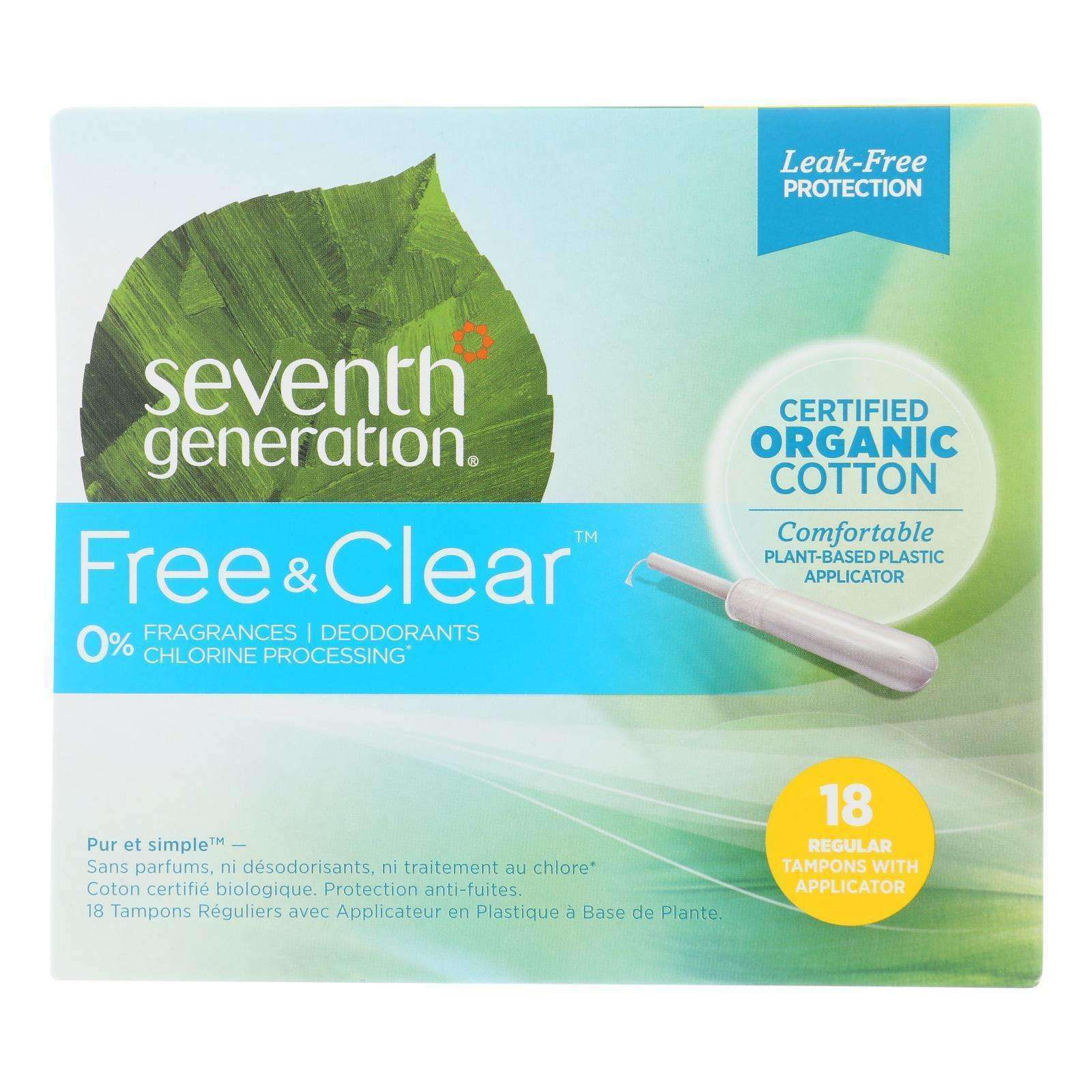 Seventh Generation - Free And Clear Tampons With Applicator - Regular - Case Of 6 - 18 Count - BeeGreen