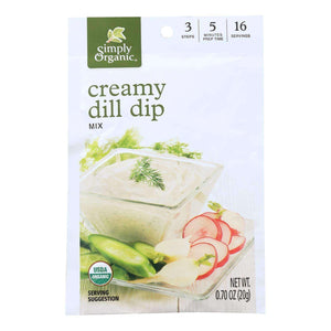 Simply Organic Creamy Dill Dip Mix - Case Of 12 - 0.7 Oz. - BeeGreen